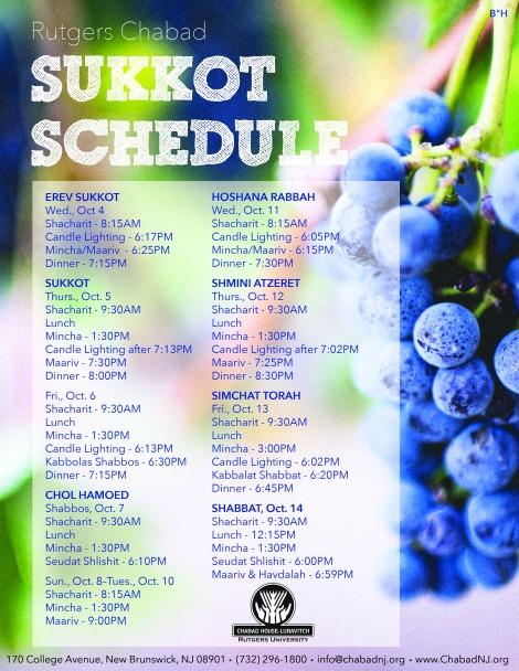 Succot Schedule