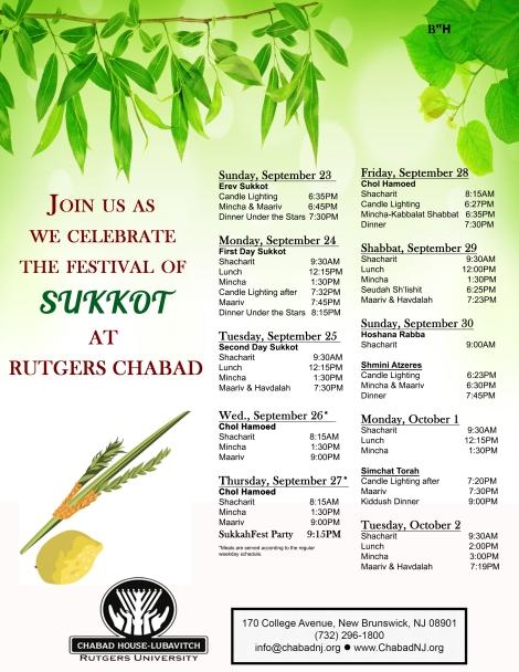 sukkot schedule 5779